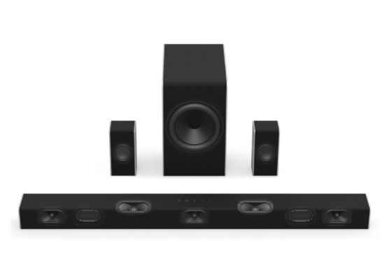 Black home theater system with a wireless subwoofer