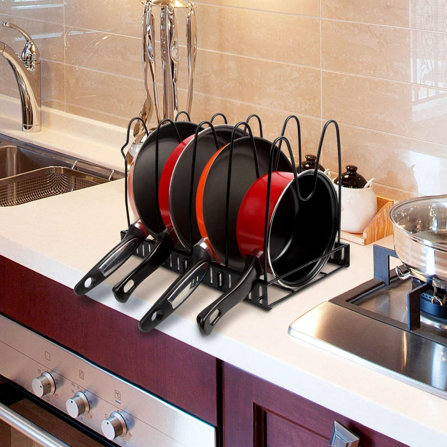 The kitchen rack used horizontally to hold pans and pots