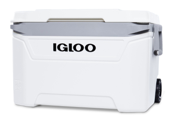 White Igloo rolling cooler with black wheels on the bottom and a gray handle on the side