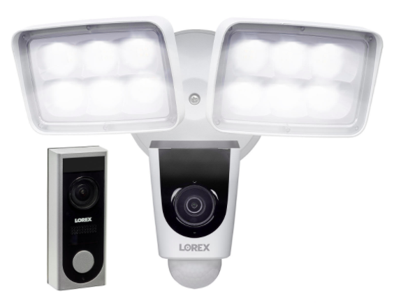 A white and black doorbell and floodlight security system