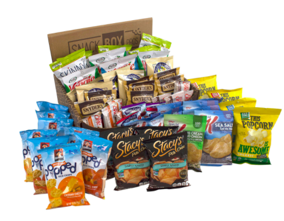 Giant snack assortment with popped chips, pita chips, popcorn, and pretzels