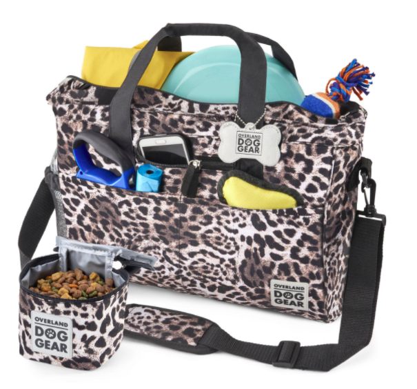 Leopard-print travel doggy tote with compartments and a food bowl
