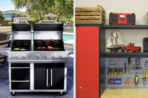 On the right, a dual grill cooking up eggs and hot dogs. On the left, a red garage storage system with shelving and vintage goods