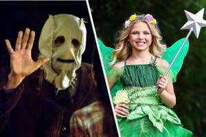 Creepy masked man from the strangers next to a girl in a fairy costume