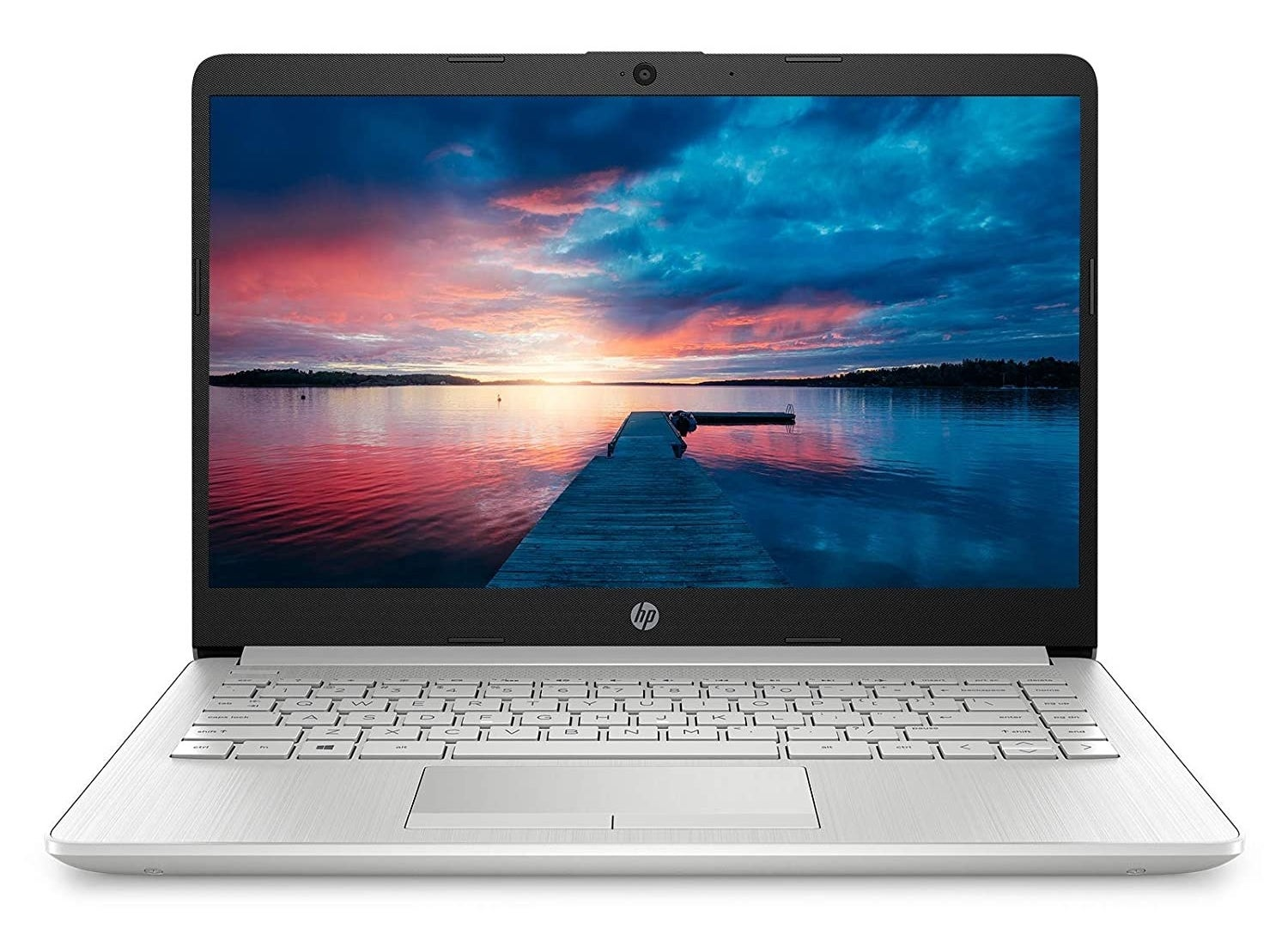 An HP 14 laptop in natural silver