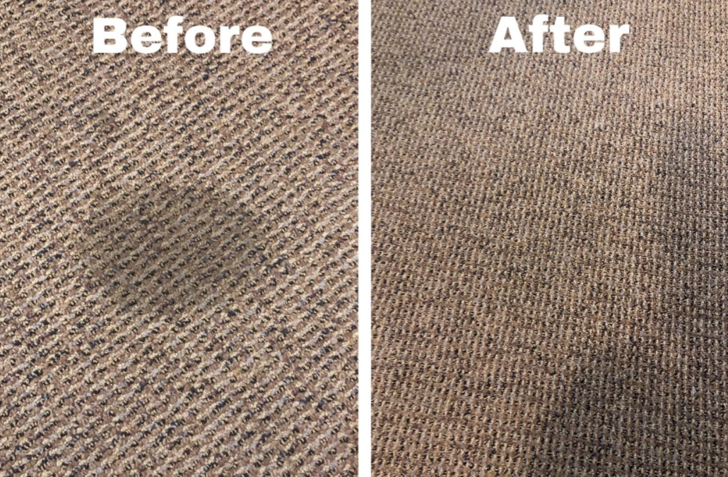 A round dark stain on a beige carpet before using the spray, then the same carpet with out and stain after using the spray