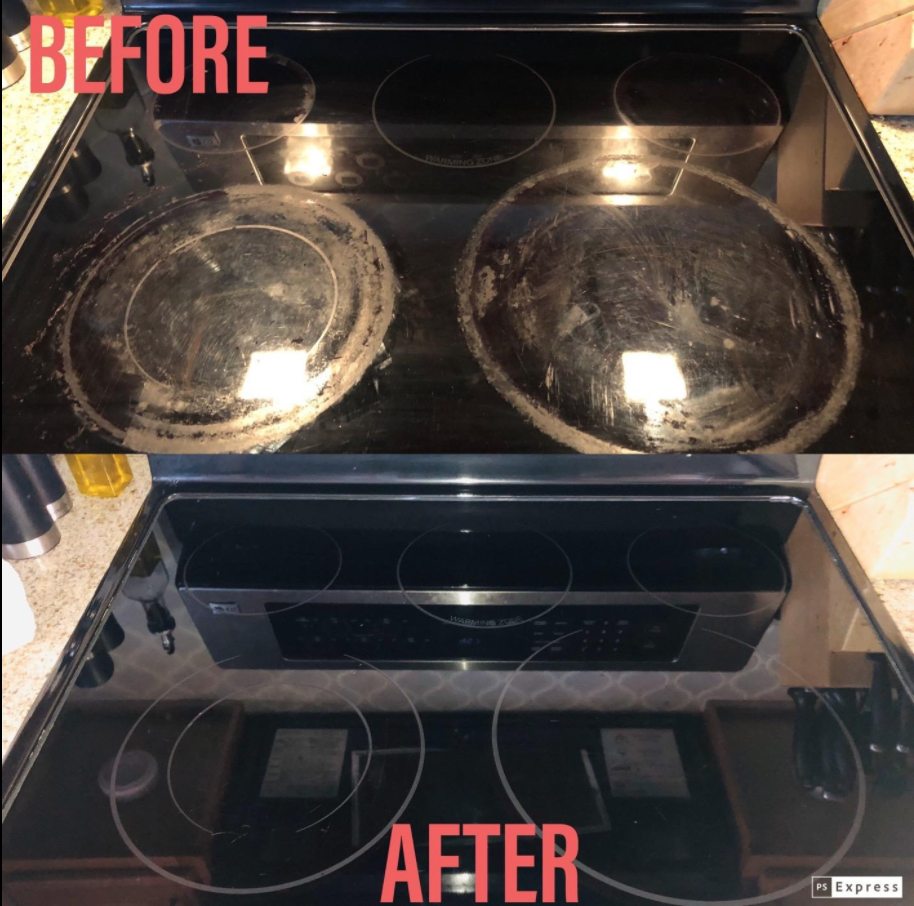A scratched-looking, grime-covered stove top with buildup before using the product, then a completely clear and reflective stove top after using the product