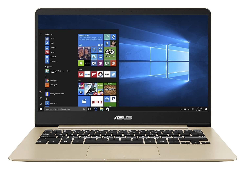 An ASUS ZenBook in gold