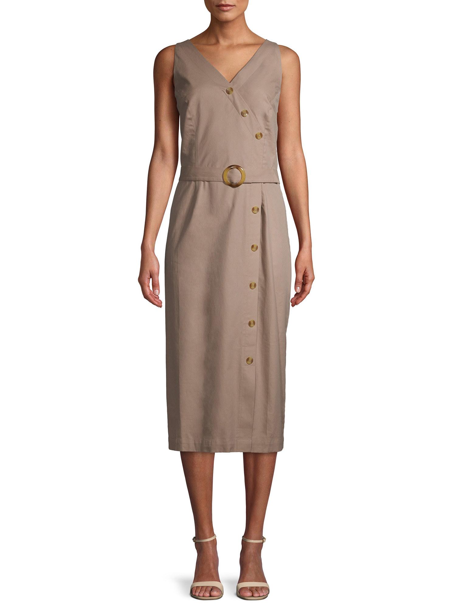 a model in the dress in tan