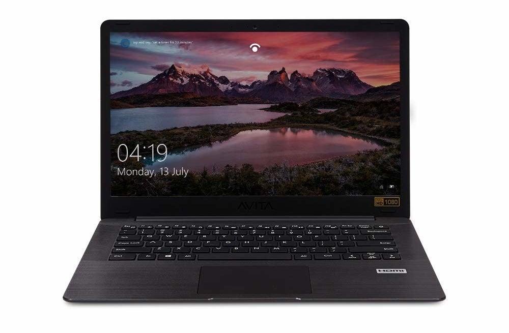 An AVITA PURA laptop in metallic black