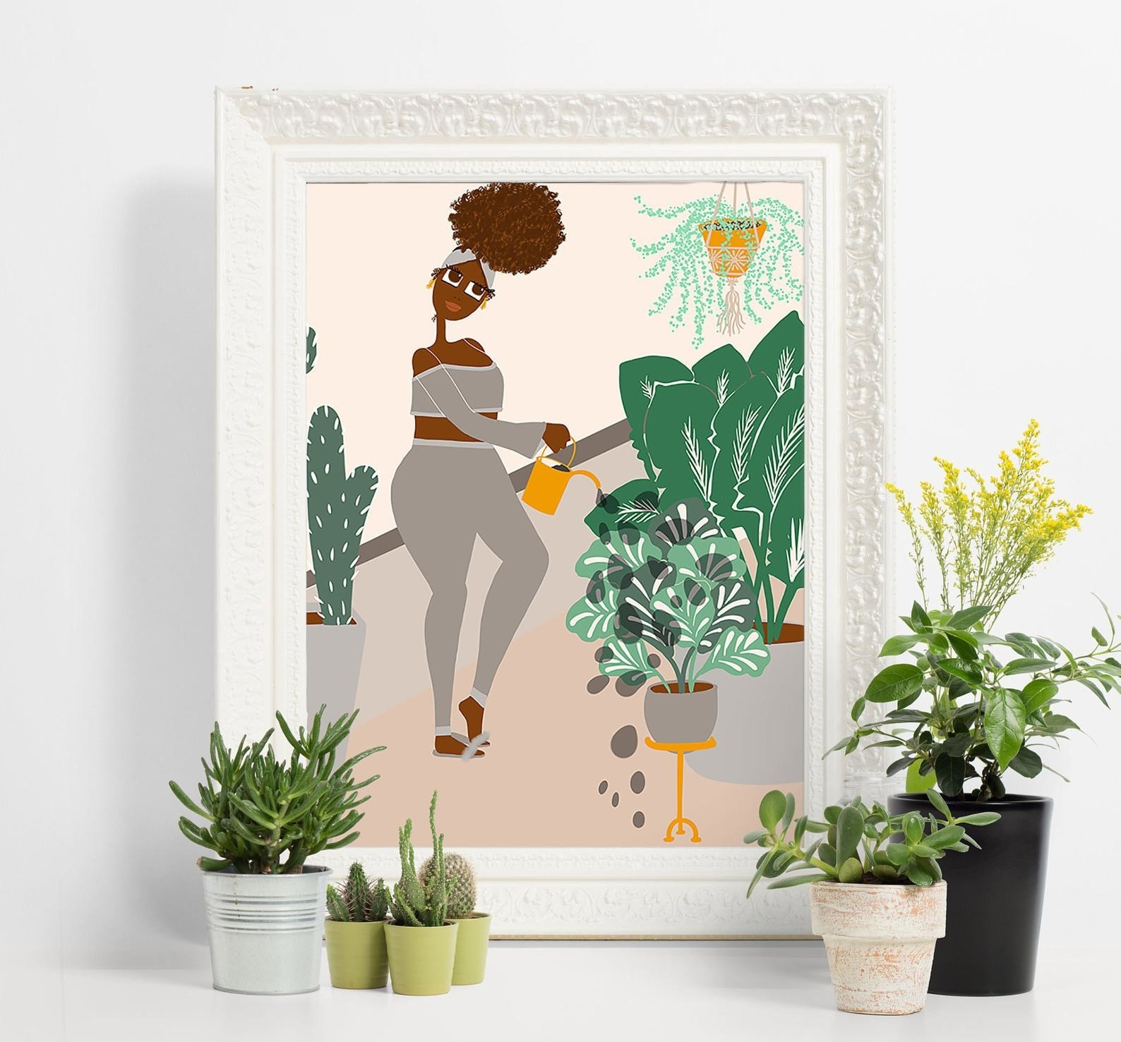 An illustrated art print of a woman watering her plants