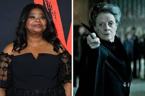 On the left, Octavia Spencer, and on the right, Maggie Smith as Professor McGonagall