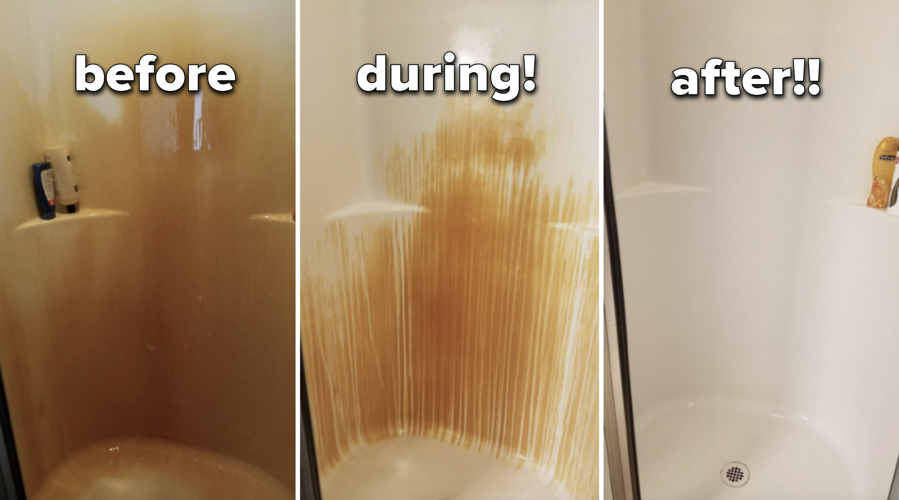 "Reviewer's progress pic of using the spray gel on their shower. The ""during"" pic shows rust dripping off the shower walls, and the after shows a rust stain-free shower."