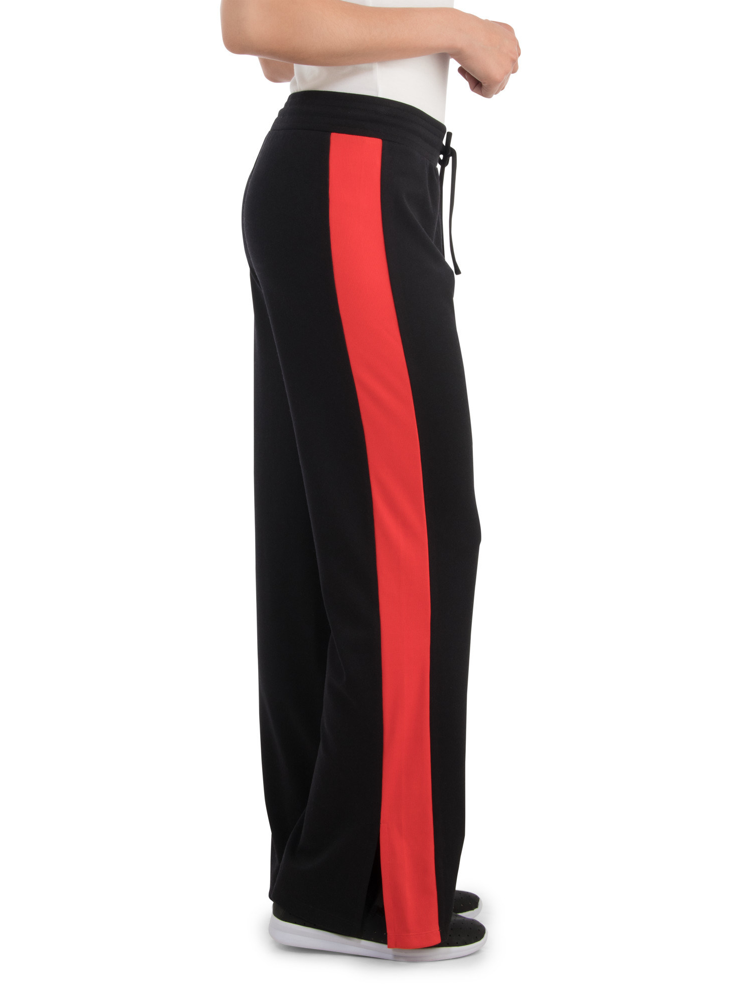 wide leg black pants with a red stripe down the side