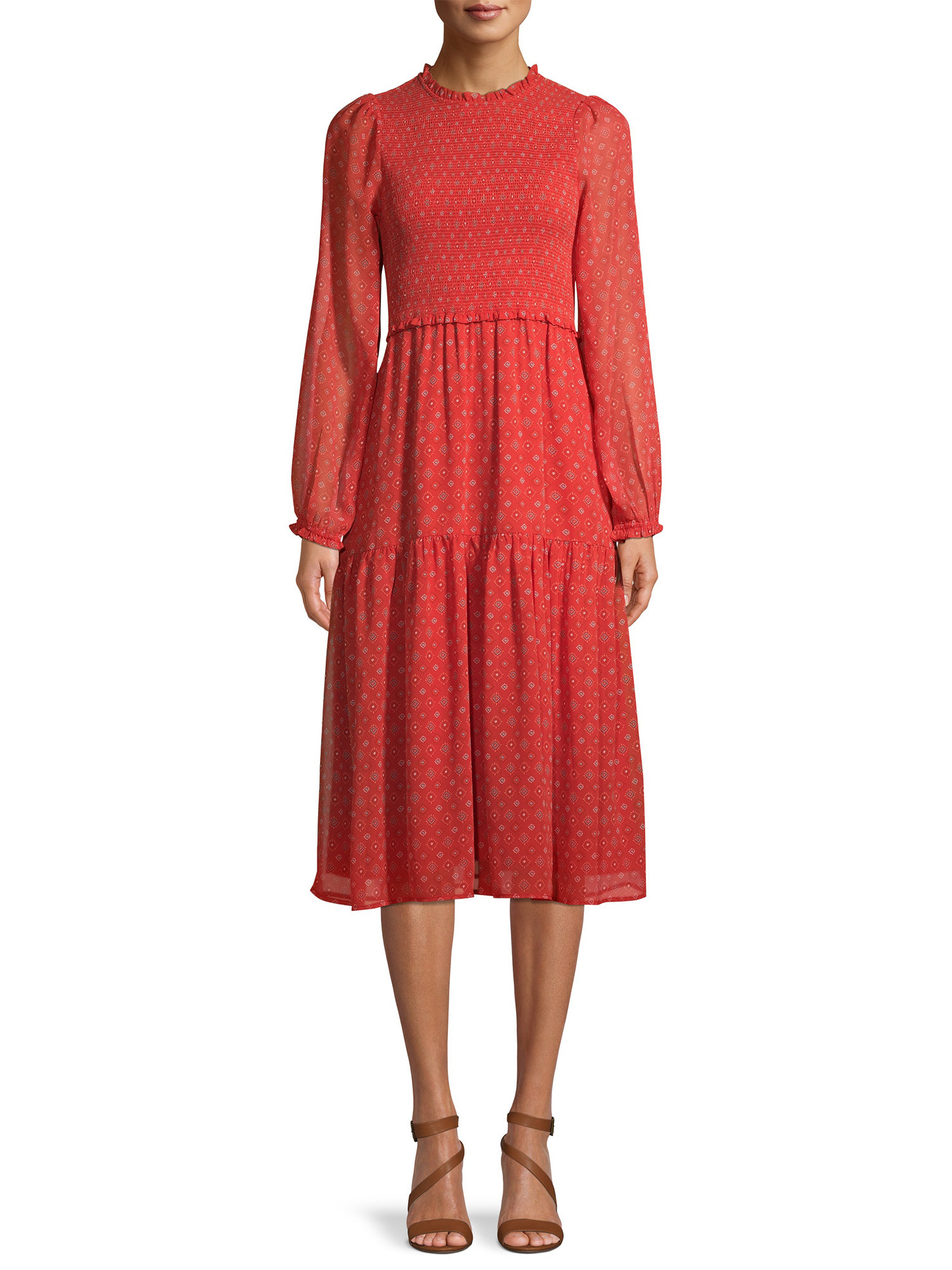 the dress in red with a slight white pattern on it