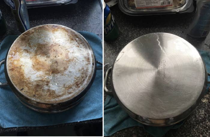 Reviewer's pan before and after the cleanser. The pan had bad burn stains on bottom but the after photo shows a stain-free pan.