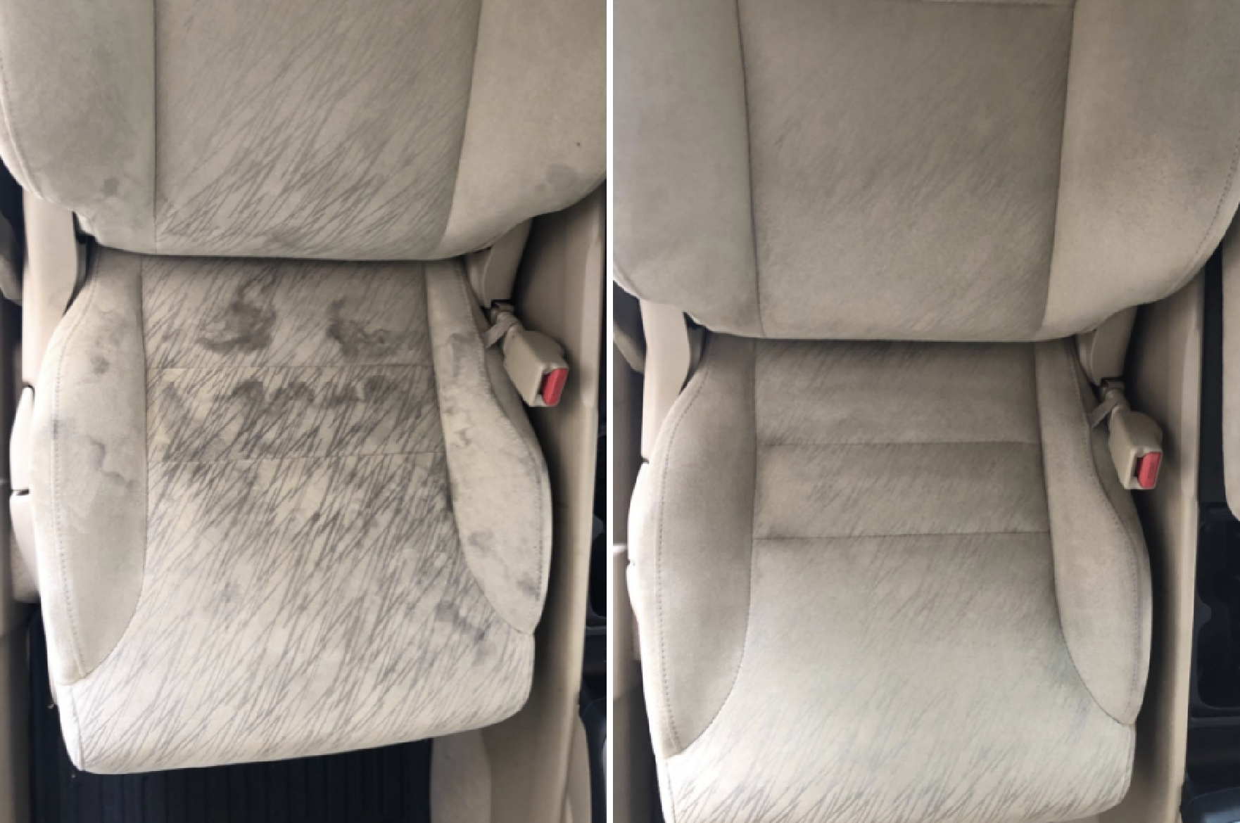 Reviewer's before-and-after image after using the car cleaner to remove stains from both the car seats