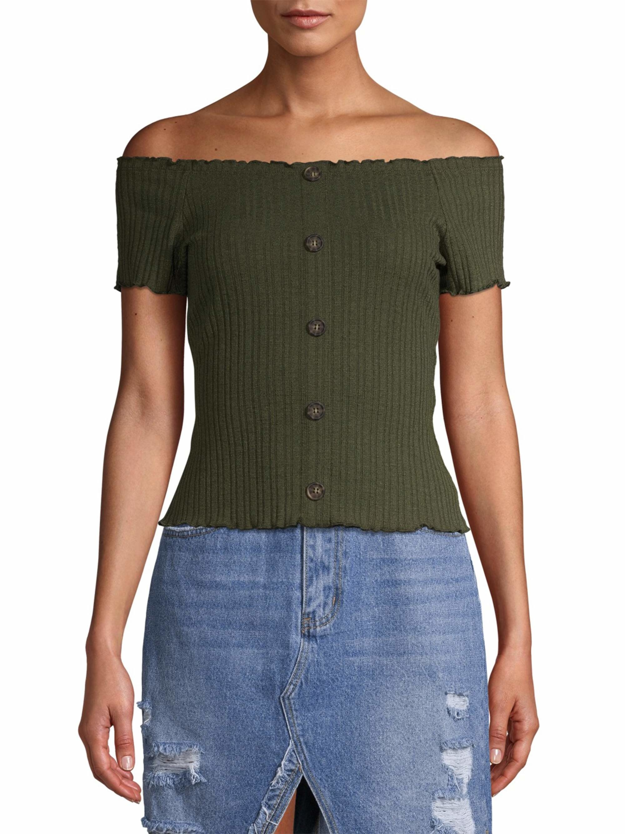 the ribbed off the shoulder top with buttons down the middle in forest green