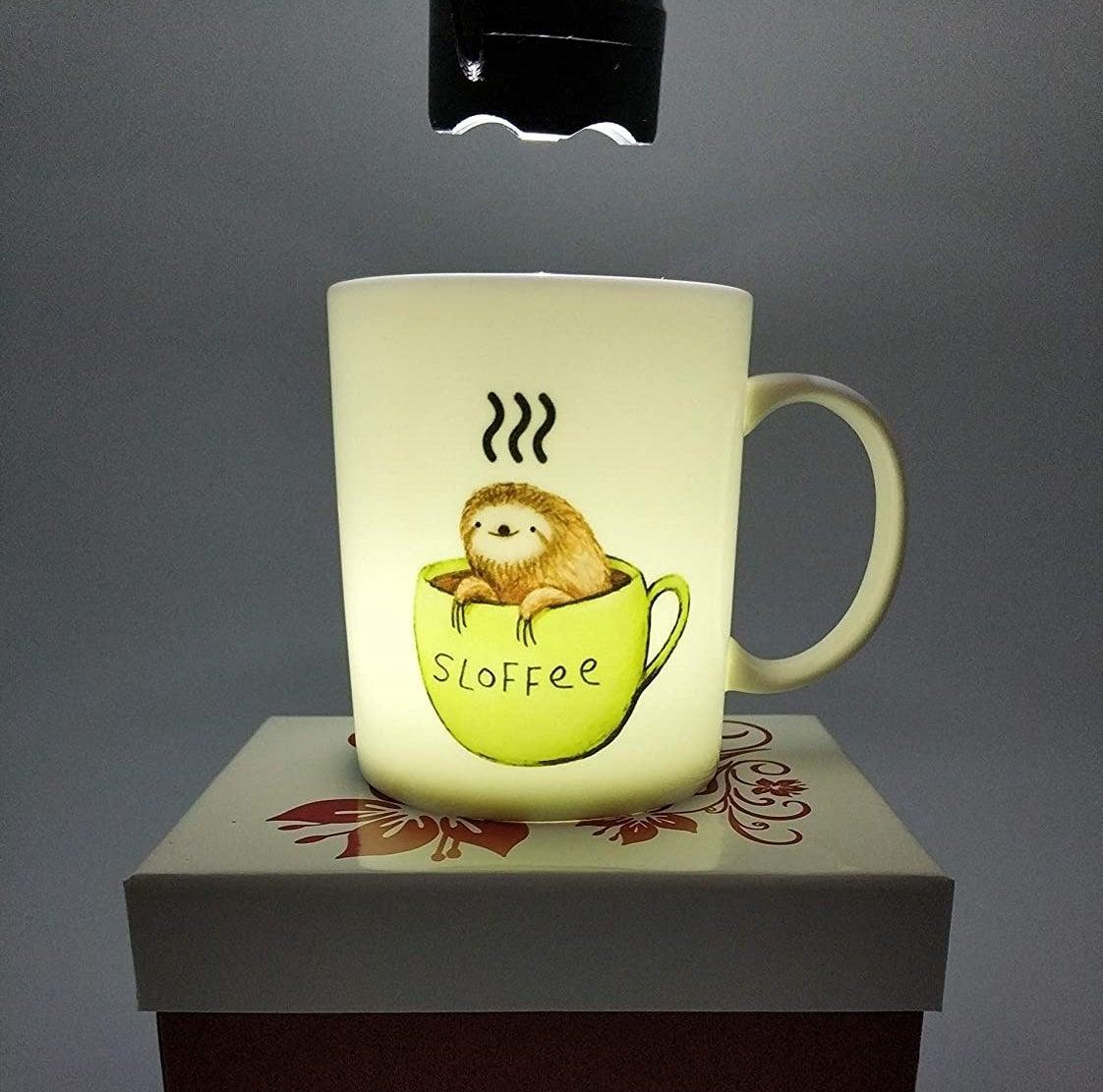 the mug under a lamp