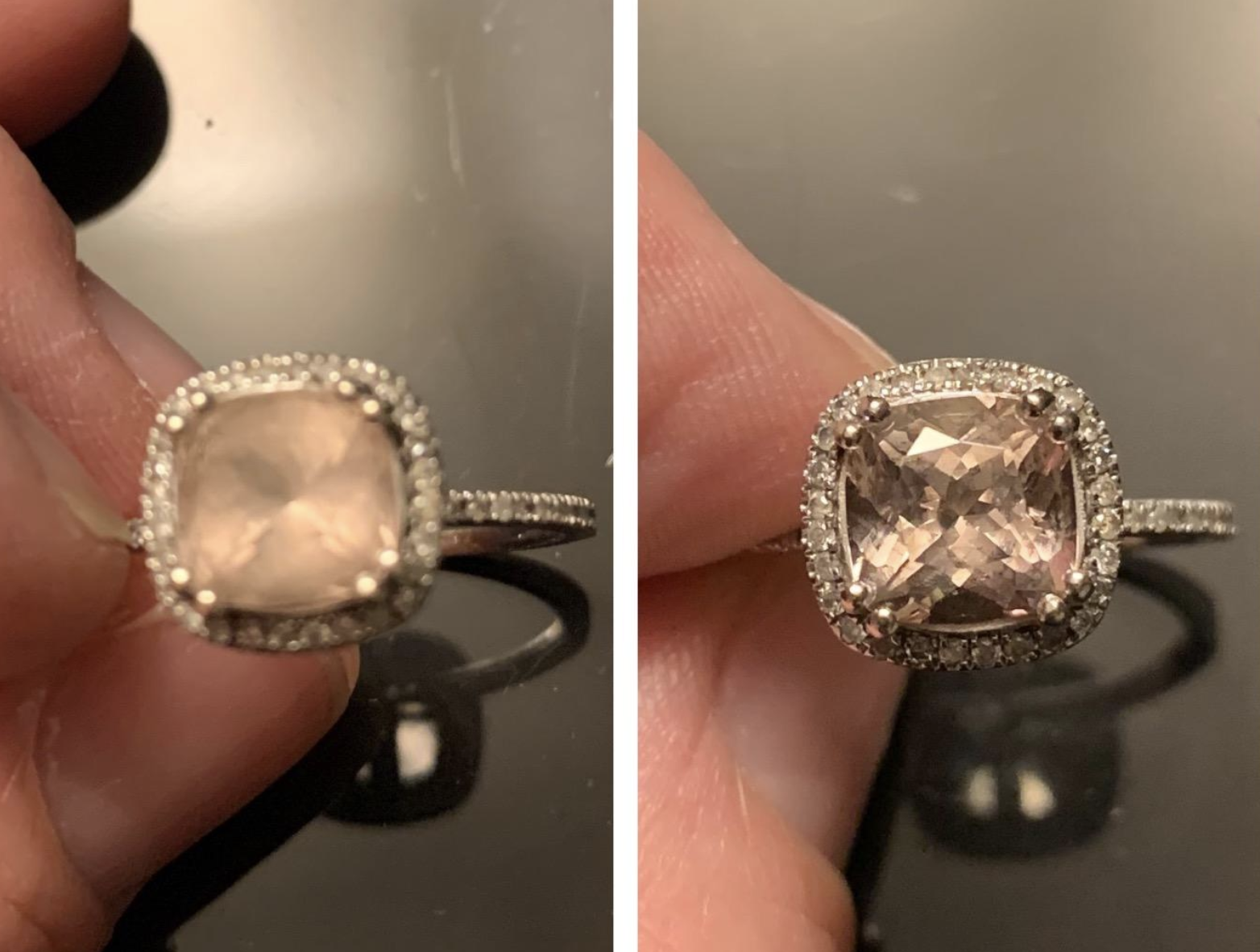 Before/after pic of reviewer's ring. The before pic is incredibly cloudy and the after pic shows a noticeable difference.
