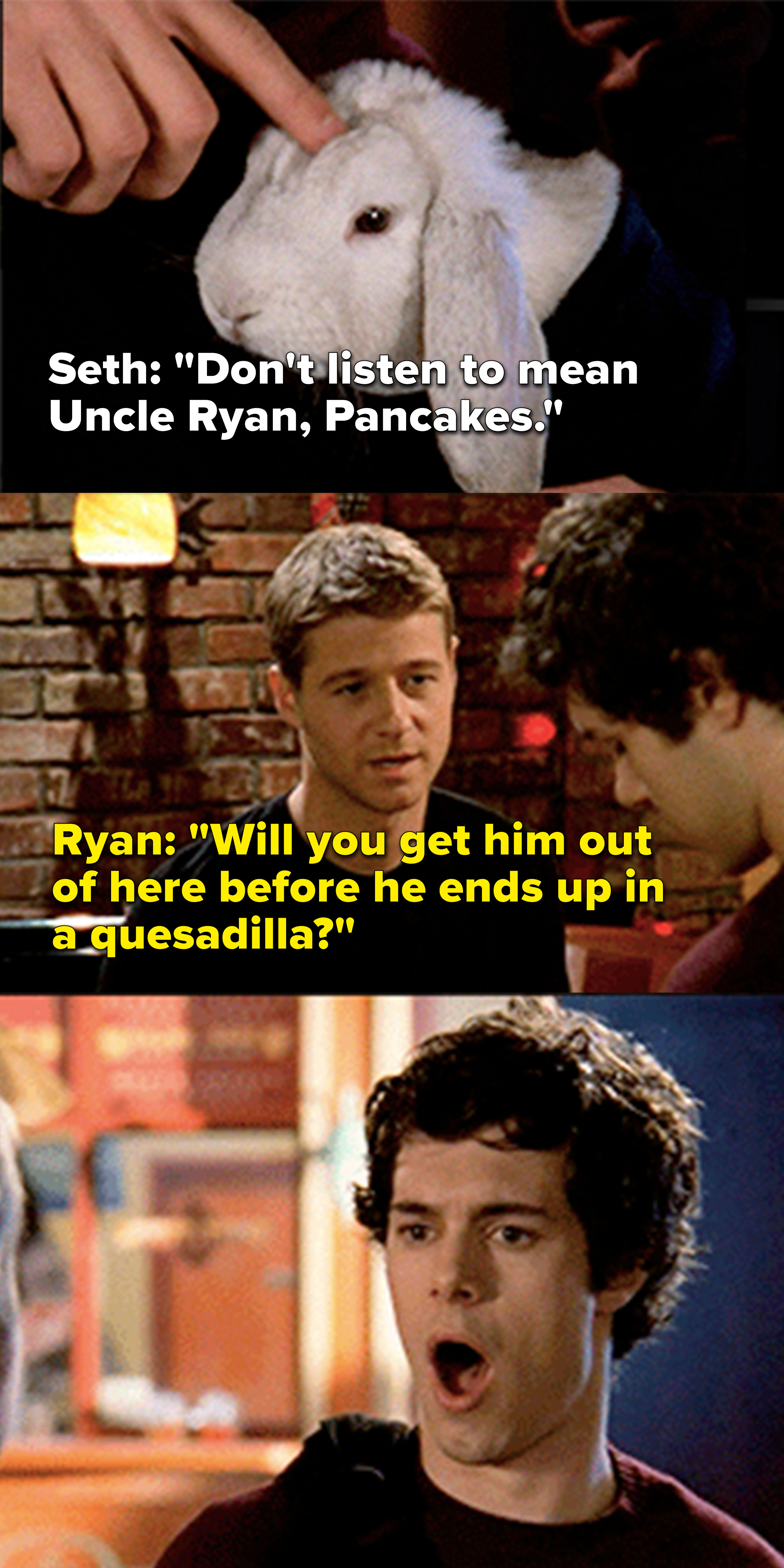Ryan tells Seth to get Summer's pet bunny out of there before he ends up in a quesadilla