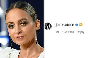 Nicole Richie and Joel Madden reacting with an embarrassed face