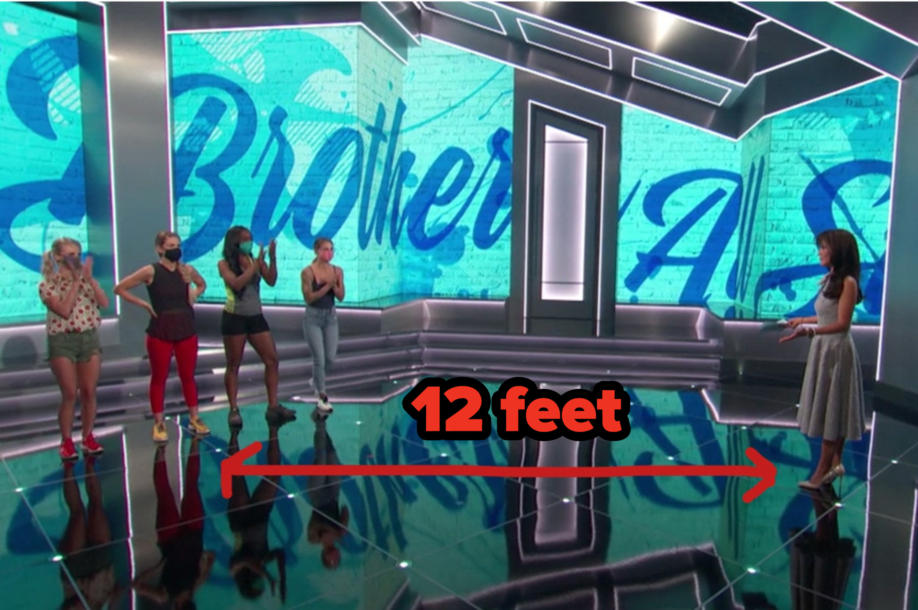 Julie Chen Moonves and 4 houseguests socially distancing 12 feet apart on stage