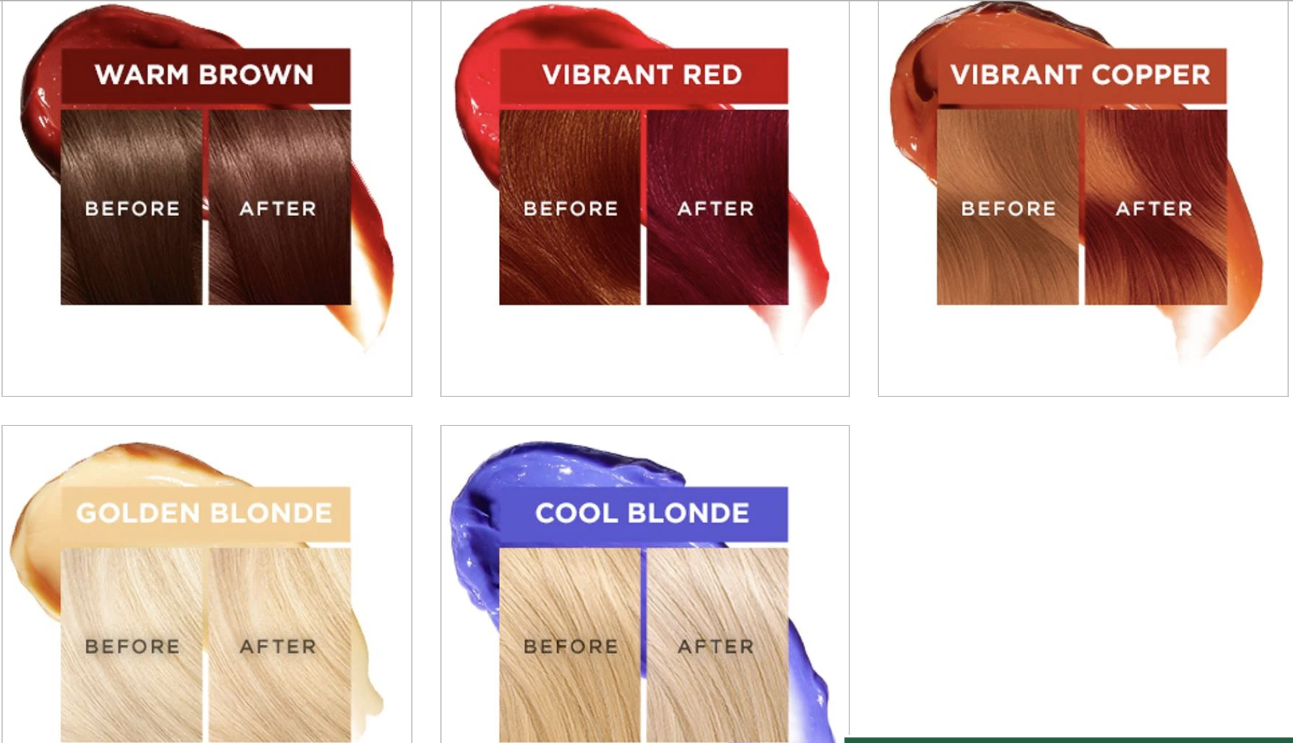 The chart of the shades, and the before/after of each one, turning each color more vibrant
