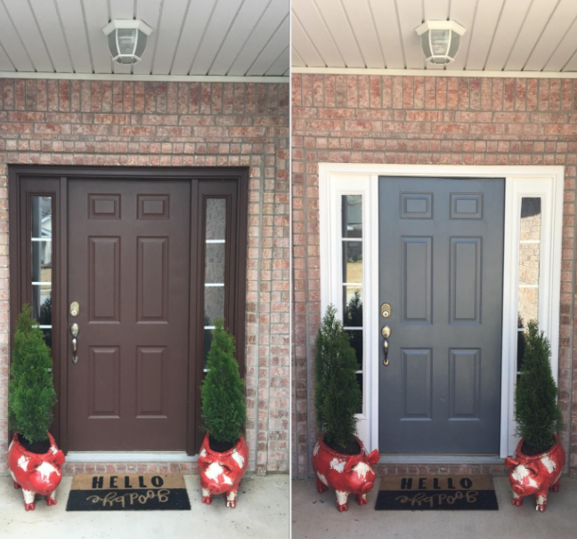 A reviewer's front door was originally brown, then they used the paint to make the door frame white and the door itself gray