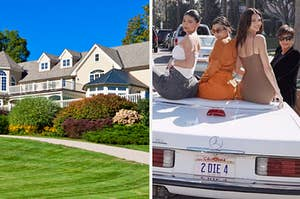 Mansion and the Kardashian sisters sitting on a car.