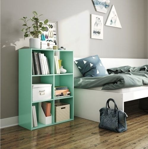The shelving unit in mint, holding books and bins with a plant and jewelry storage on top