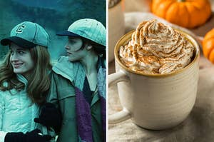 "On the left, Esme and Bella wear baseball caps in ""Twilight,"" and on the right, a pumpkin spice latte in a mug topped with whipped cream and cinnamon"