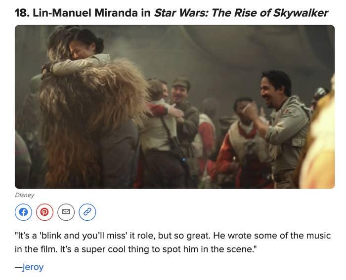 Lin-Manuel Miranda making a cameo in Star Wars: Rise of Skywalker