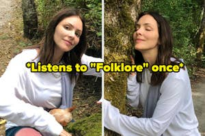 Katharine McPhee hugging trees with the caption