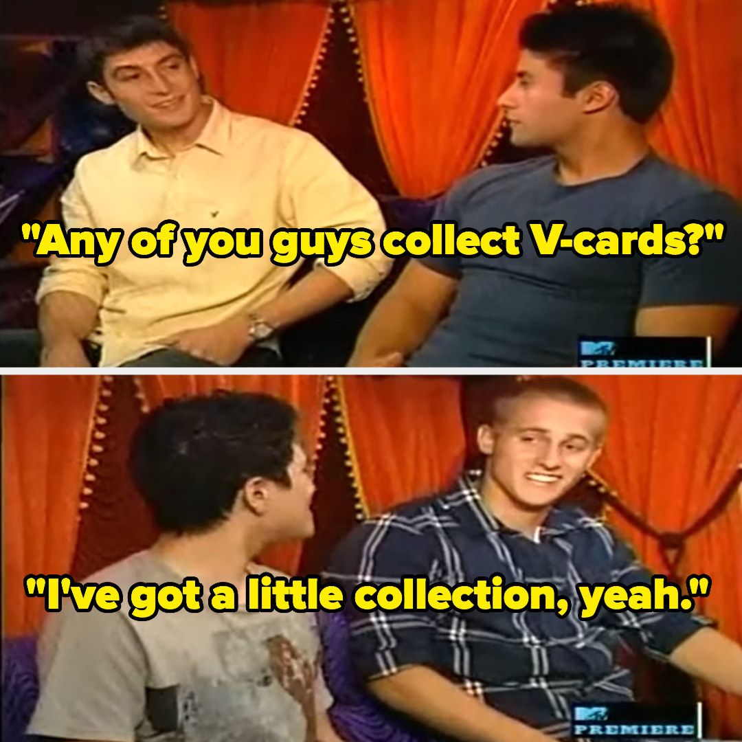 """Guy asking group, """"Any of you guys collect V-cards?"""" and someone responding """"I've got a little collection, yeah."""""""