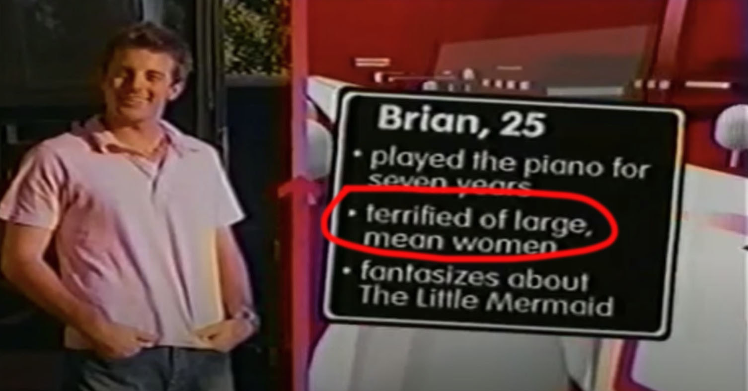 """Brian posing with his facts on the right. One of them reads, """"terrified of large, mean women."""""""