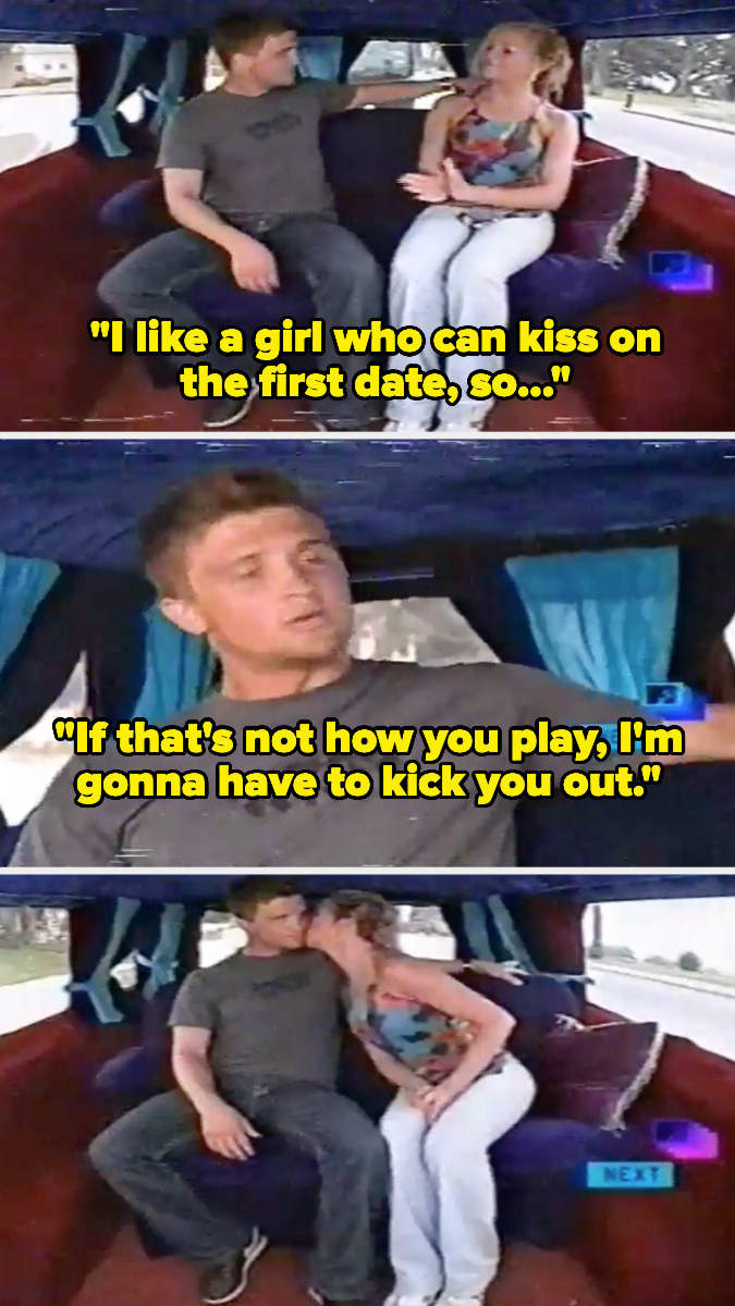 """Guy telling a girl """"I like a girl who can kiss on the first date, so if that's not how you play, I'm gonna have to kick you out."""""""