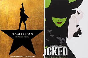 The album covers of Hamilton and Wicked
