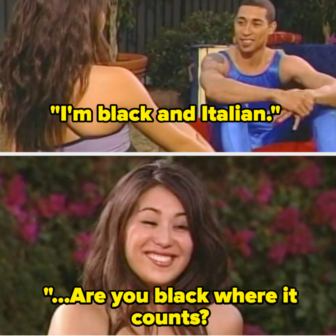 """Mike saying """"I'm black and Italian,"""" and the girl responding """"Are you black where it counts?"""""""