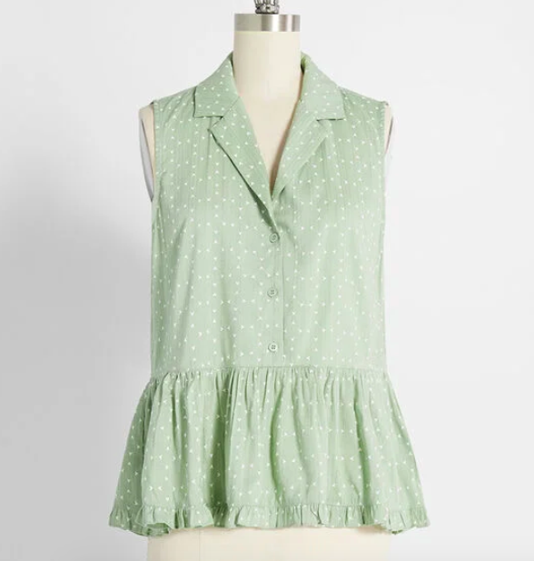 The button-up peplum top in mint.