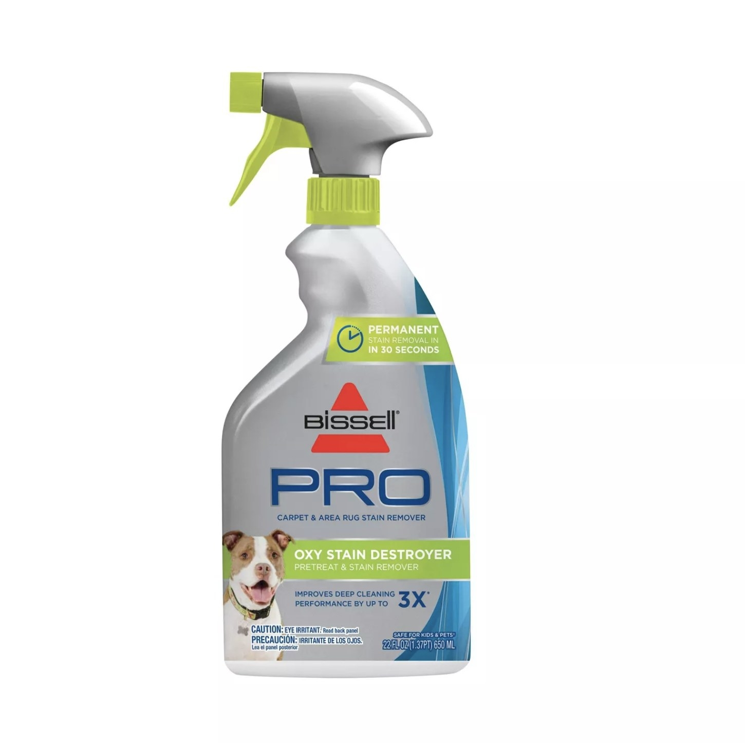 """Gray and blue spray bottle that says """"Bissell Pro Oxy Stain Destroyer"""""""