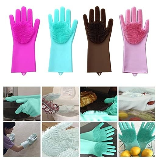 A collage of the gloves being used to clean various house surfaces like walls, floors, toilets, etc.