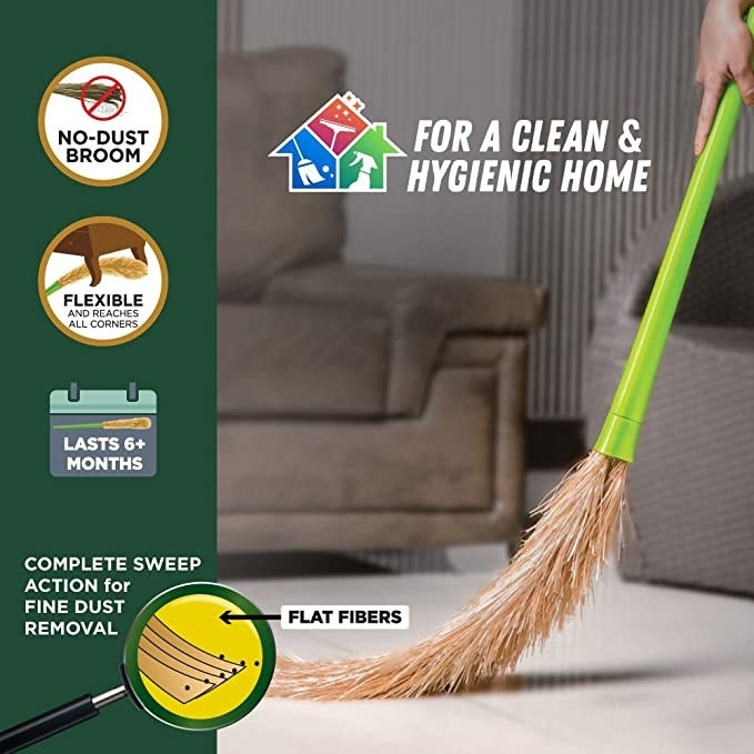 Broom sweeping the floor.