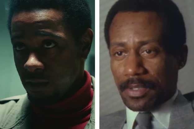 LaKeith Stanfield side by side with the real William O'Neal in a documentary interview