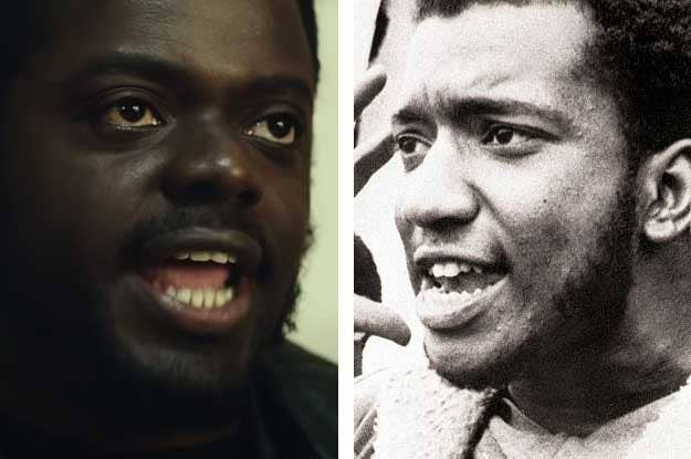 Still frame of Daniel Kaluuya side by side with a historical photo of the real Fred Hampton