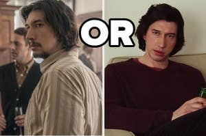 Two images of Adam Driver one from Blackkklansman and the other from Marriage Story
