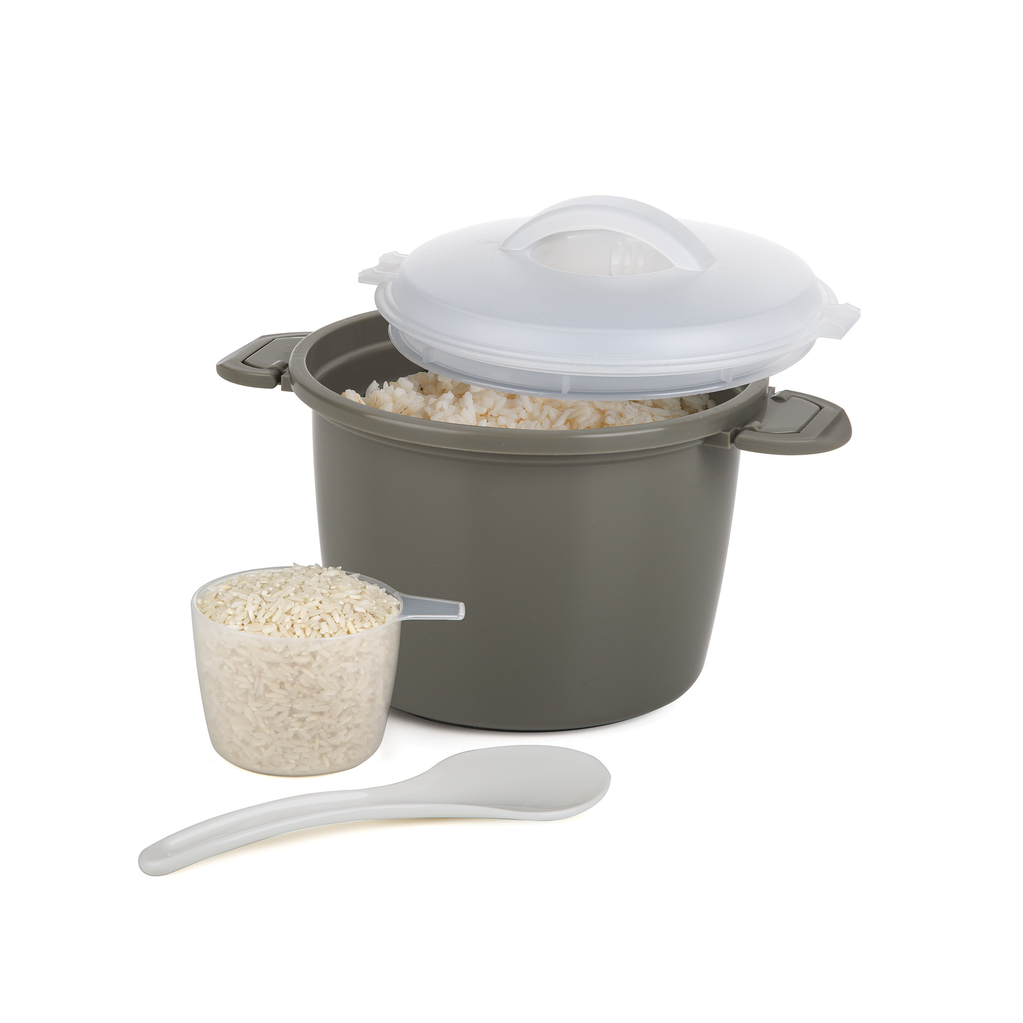 a grey rice cooker with a measuring cup and spoon