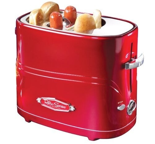 a red hot dog cooker that looks a bit like a toaster