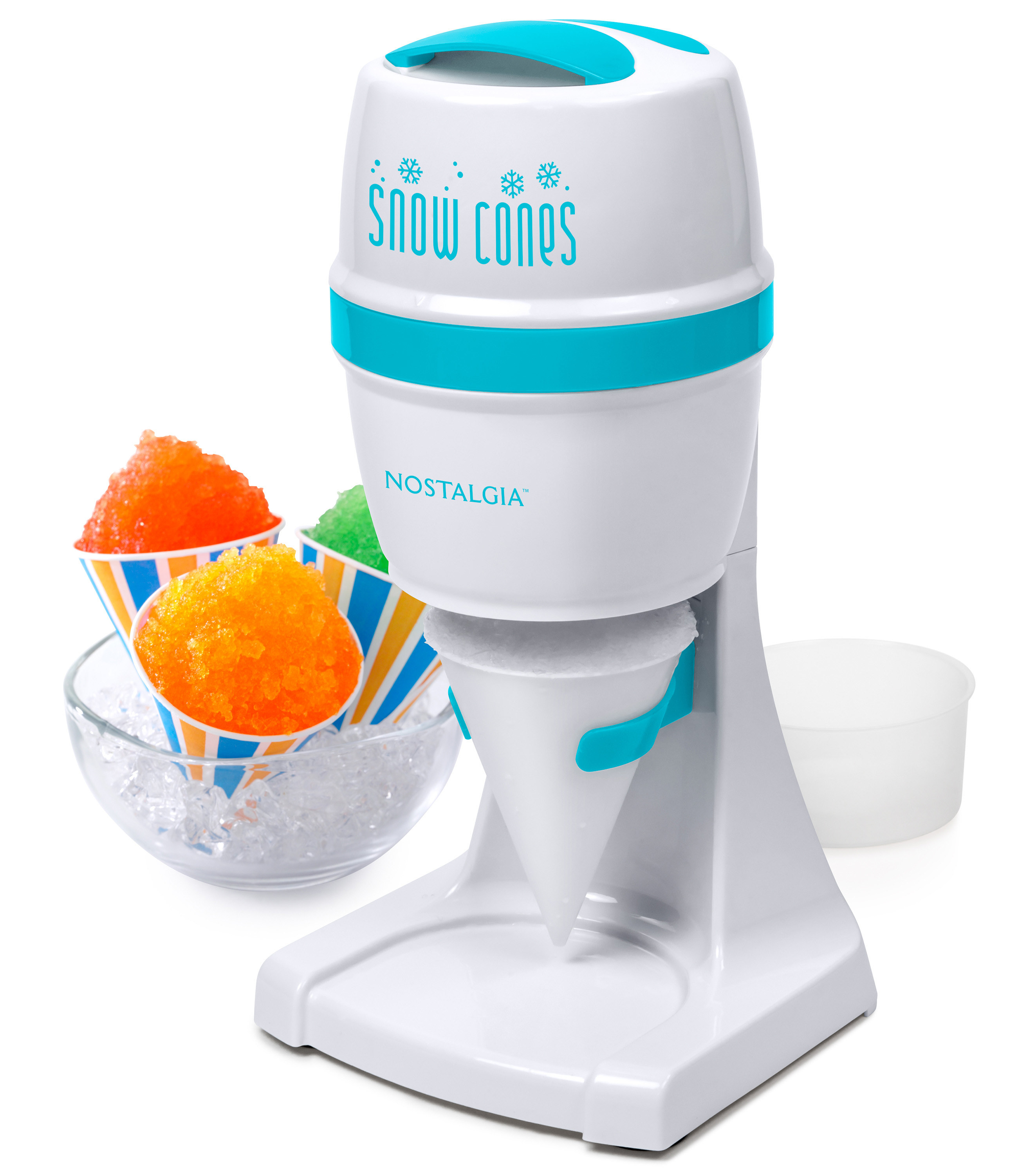 the white and blue snow cone maker