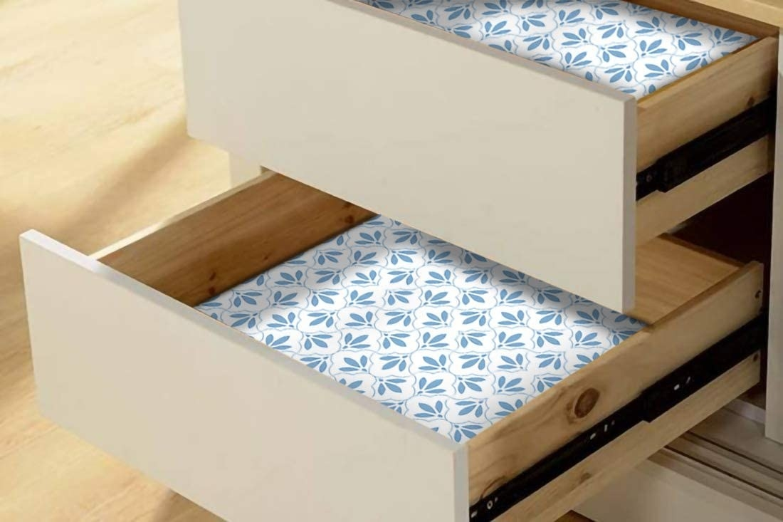 Two drawers lined with patterned drawer liners